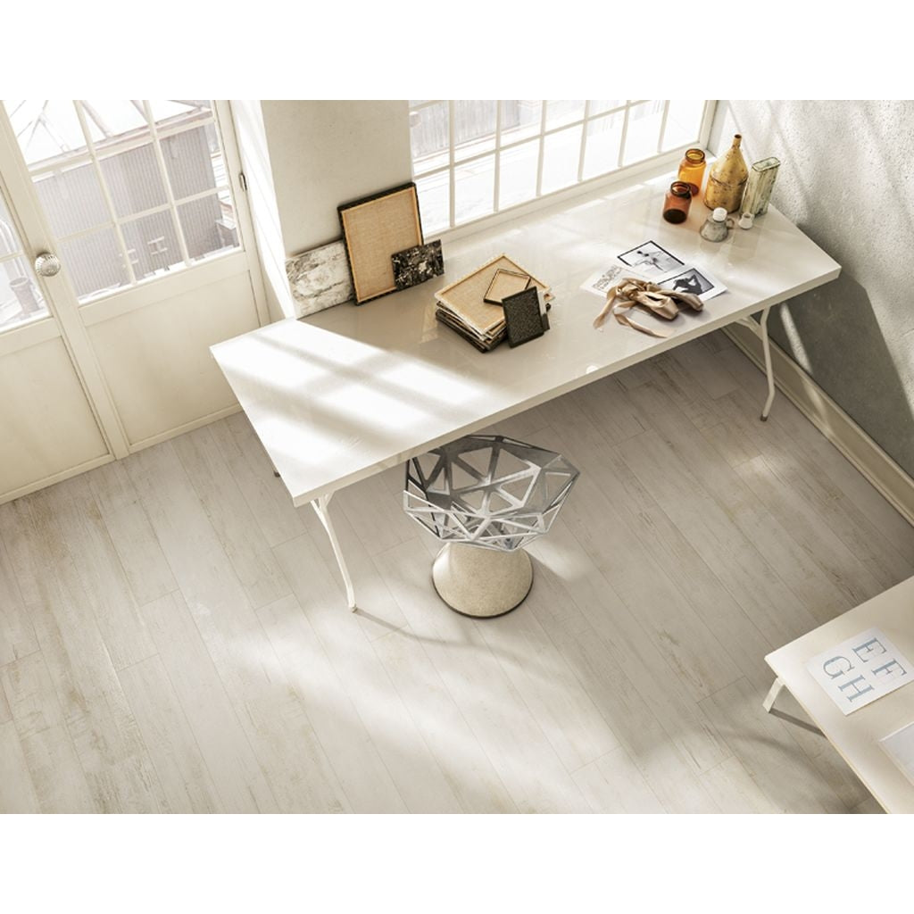 White 100x25 Wood Effect Floor Tiles Faenza Nouvelle