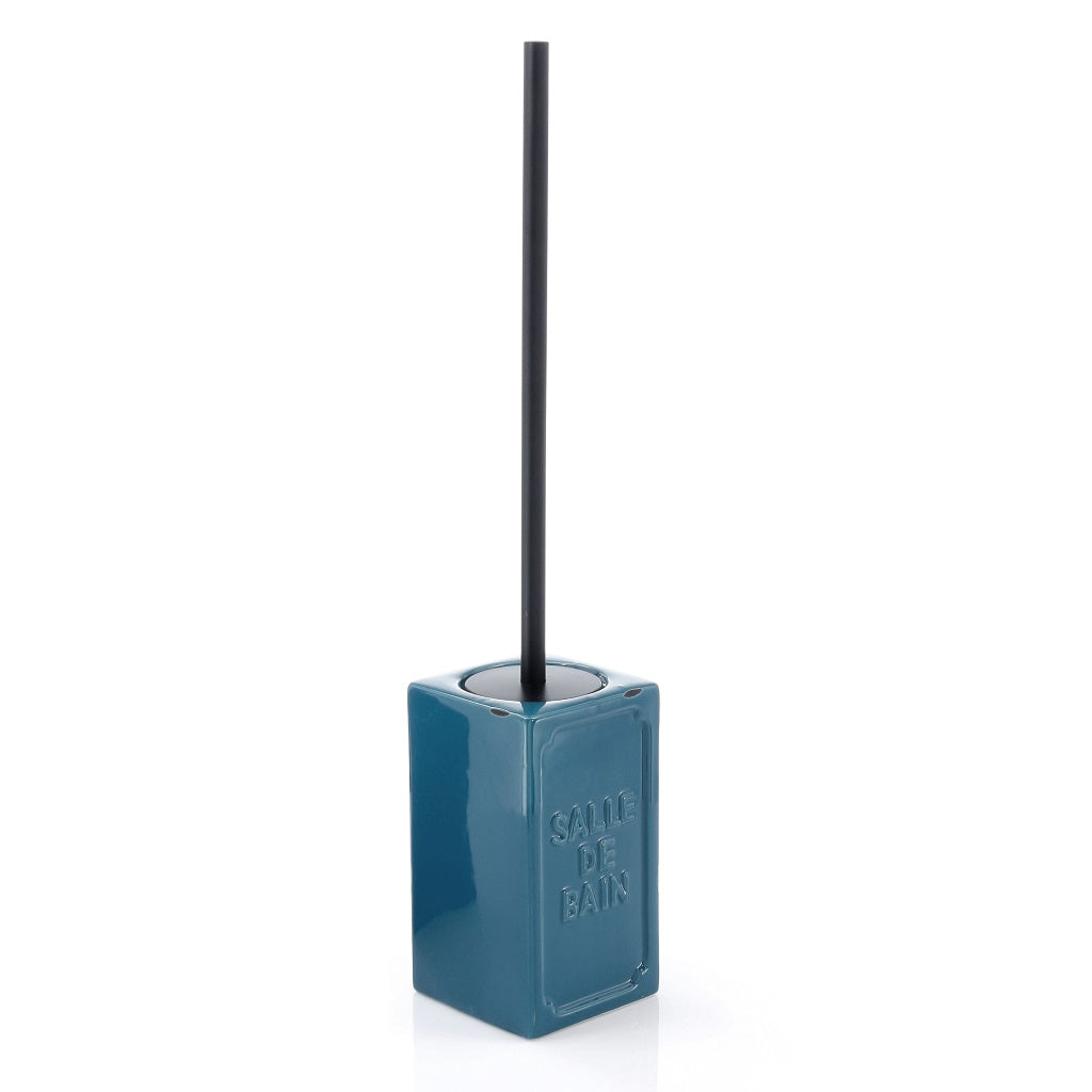 Blue Ceramic Toilet WC Brush Holder Gedy Vivienne