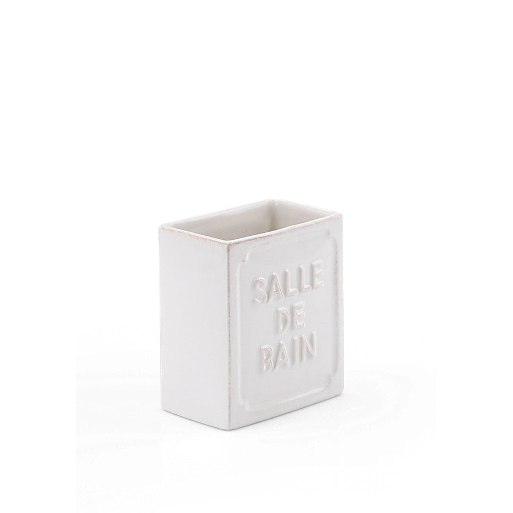 White Ceramic Tooth Brush Holder Gedy Vivienne