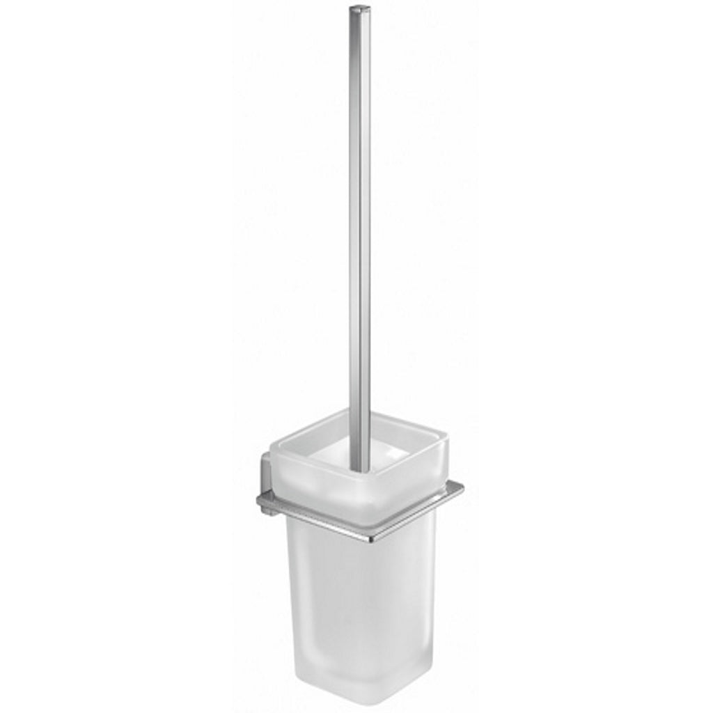 Chromed Glass Wall Toilet WC Brush Holder Gedy Atena