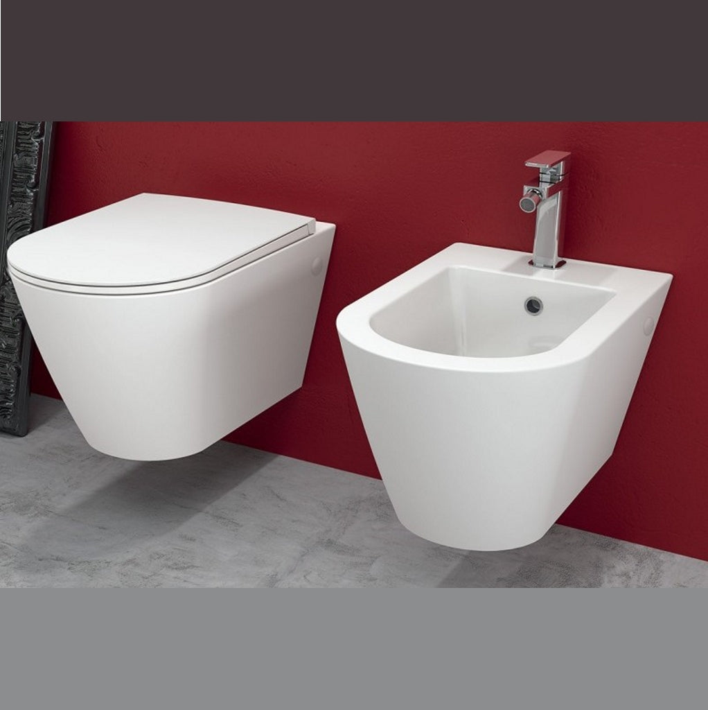 Sanitary suspended bidet toilet seat soft-close Rak Resort fast fixing system