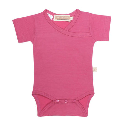mokopuna merino shortsuit with short sleeves and wrap neckline in size 000_raspberry
