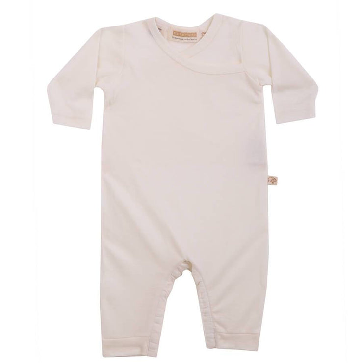 mokopuna all in one romper in merino with long legs with domes, long sleeves and wrap neckline in size 000_lily