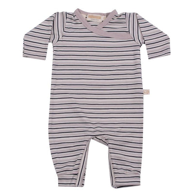 mokopuna all in one romper in merino with long legs with domes, long sleeves and wrap neckline in size NB_tekapo stripe