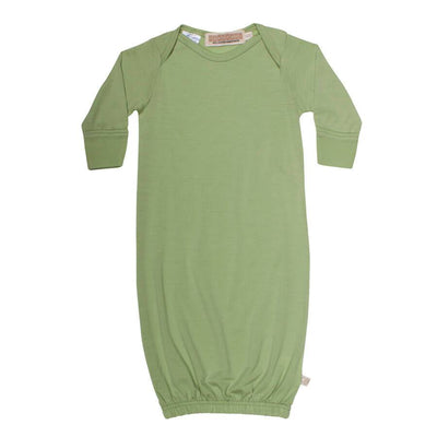 mokopuna sleepsuit gown in merino with envelope neckline, built-in mitts and elastic bottom in size 000_pistachio