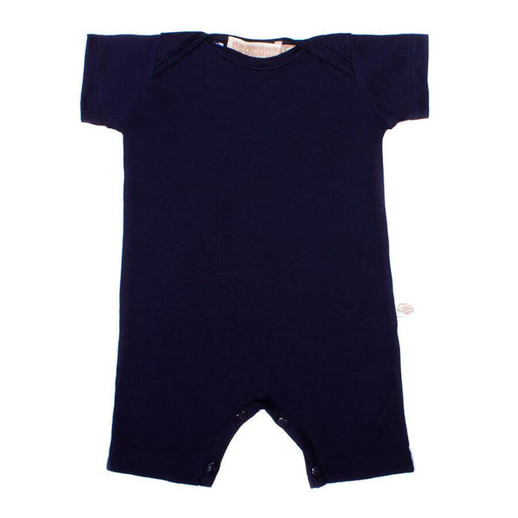 mokopuna all in one romper in merino with short legs with domes, short sleeves and envelope neckline in size 000_marine