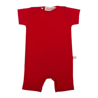mokopuna all in one romper in merino with short legs with domes, short sleeves and envelope neckline in size 000_ruby