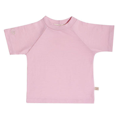 mokopuna baby tee shirt in merino with short sleeves and round neckline in size 2_magnolia