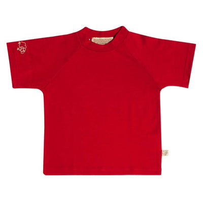 mokopuna baby tee shirt in merino with short sleeves and round neckline in size 2_ruby