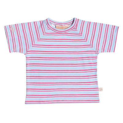 mokopuna baby tee shirt in merino with short sleeves and round neckline in size 2_ruby stripe
