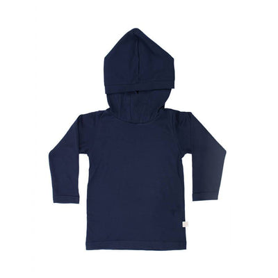 mokopuna merino sweatshirt with hood and long sleeves in size 0_marine