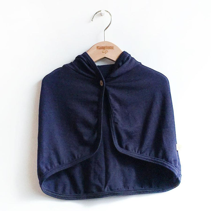 mokopuna cape in merino with hood and button closure in size OSFA_marine