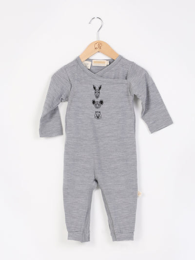 all in one romper with legs, long sleeves and wrap neckline in size 000_mist