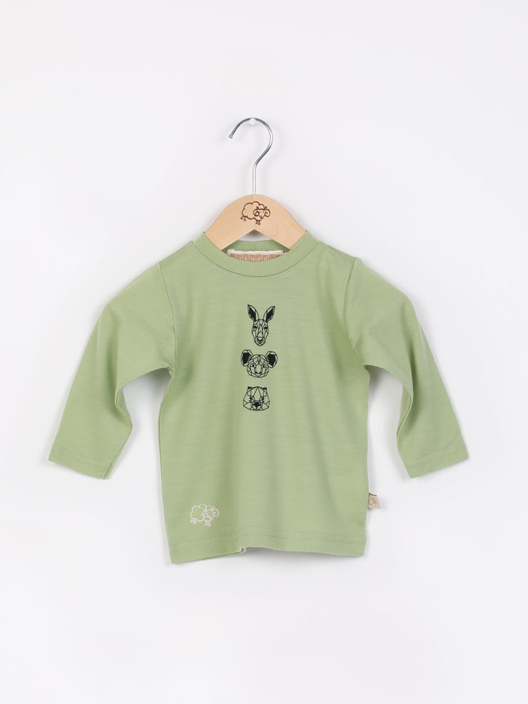 long sleeve tee shirt in merino with round neckline in size 0_pistachio