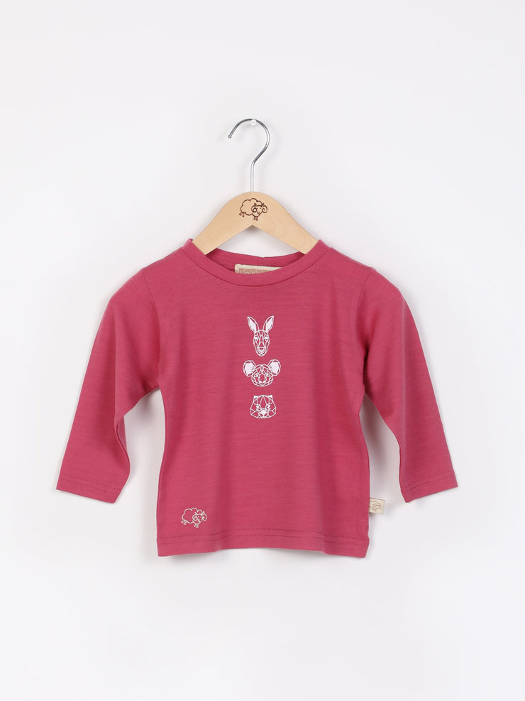 long sleeve tee shirt in merino with round neckline in size 0_raspberry