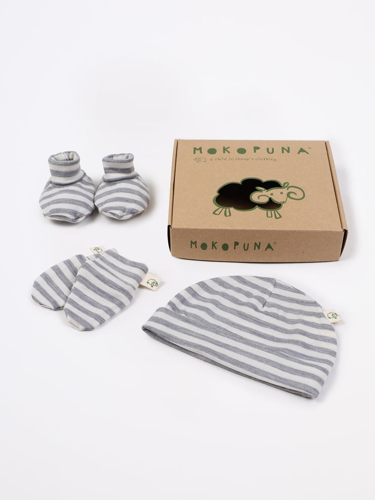 mokopuna set of merino newborn essentials, beanie, booties, scratch mittens, packed in a gift box in size NB_cloudy bay stripe