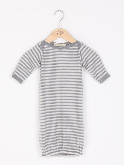 mokopuna sleepsuit gown in merino with envelope neckline, built-in mitts and elastic bottom in size 000_cloudy bay stripe