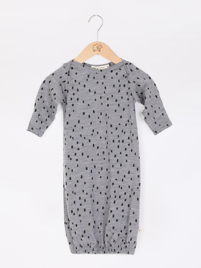 mokopuna sleepsuit gown in merino with envelope neckline, built-in mitts and elastic bottom in size 00_confetti