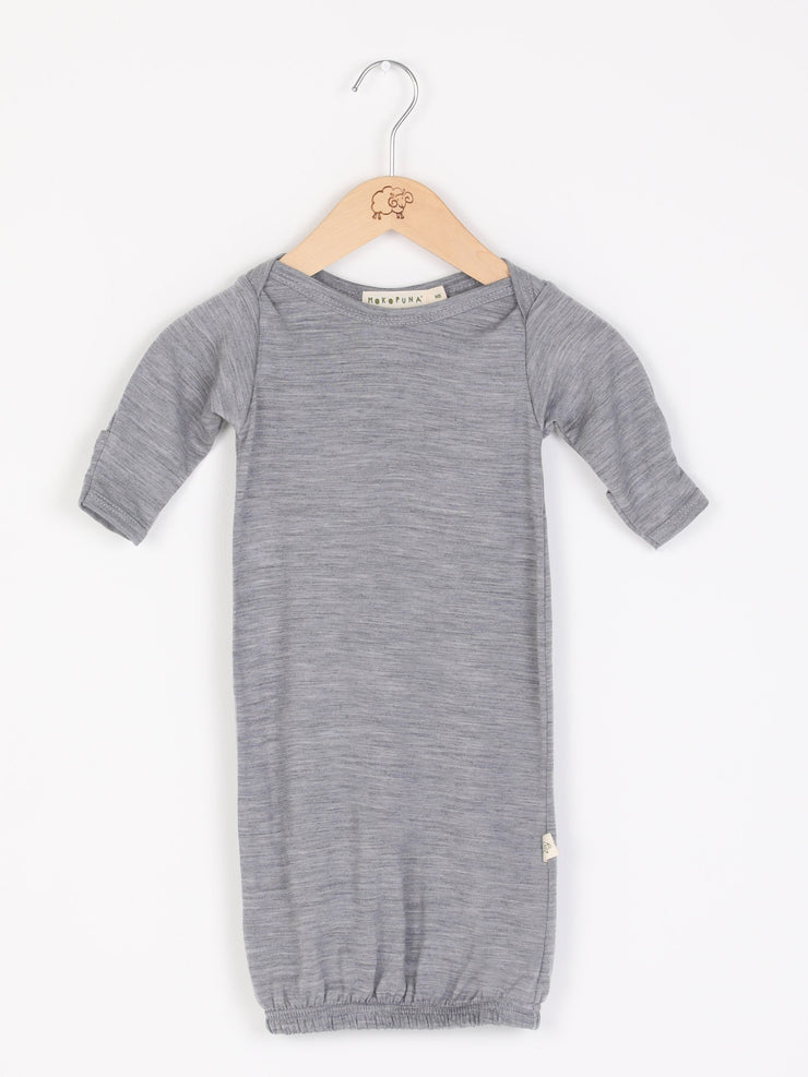 mokopuna sleepsuit gown in merino with envelope neckline, built-in mitts and elastic bottom in size NB_mist