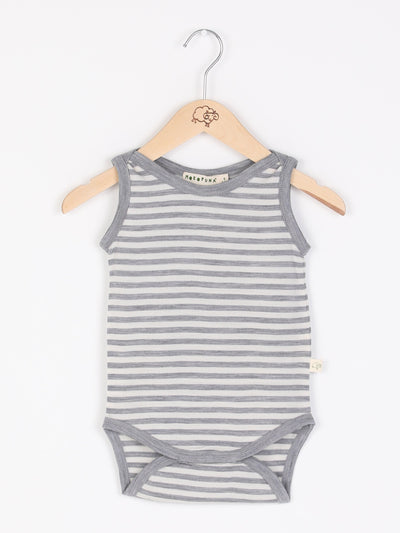 mokopuna merino singlet bodysuit sleeveless, envelope neckline in size NB_cloudy bay stripe