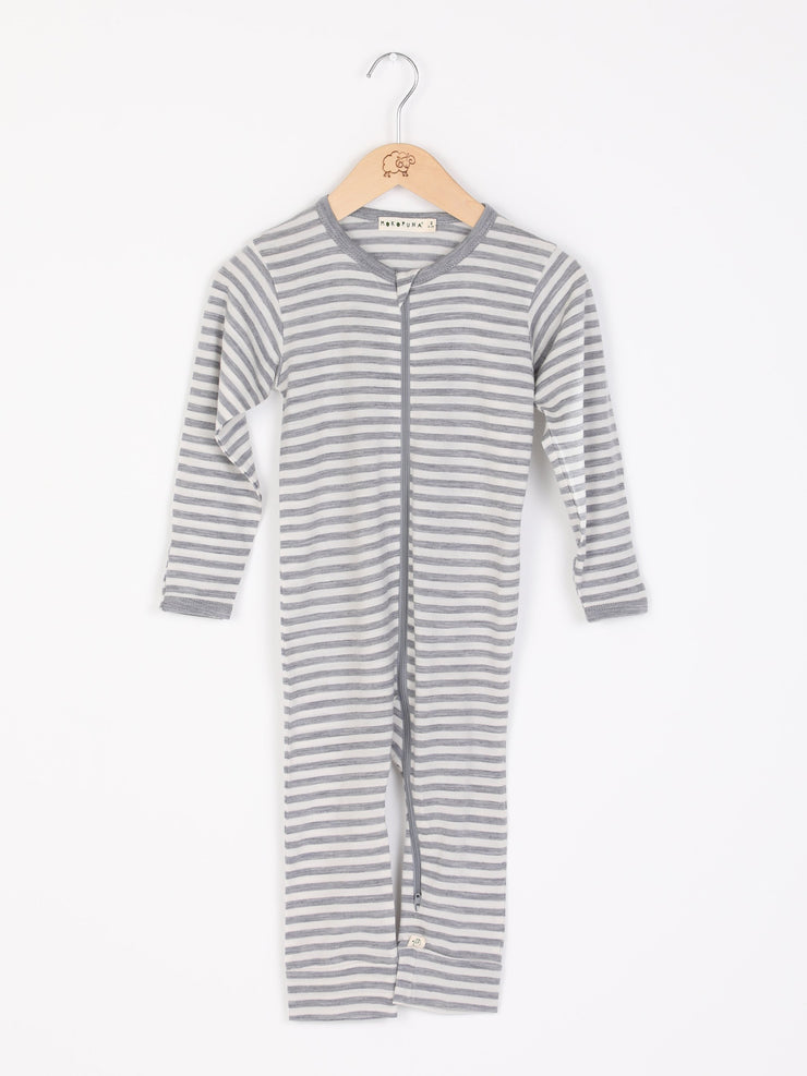mokopuna all in one romper in merino with long legs, a two-way zip, long sleeves and round neckline in size NB_cloudy bay stripe