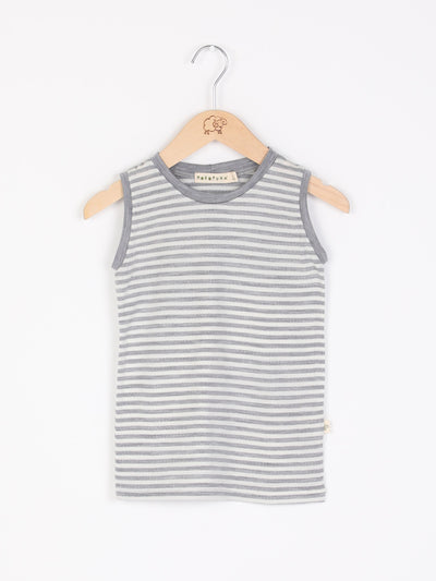 mokopuna merino singlet top sleeveless, round neckline in size NB_cloudy bay stripe