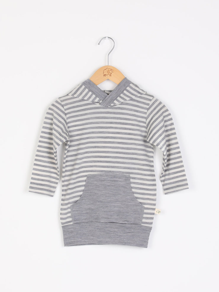 mokopuna merino sweatshirt with hood, pockets and long sleeves in size 0_cloudy bay stripe mist