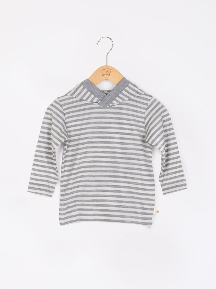 mokopuna merino sweatshirt with hood and long sleeves in size 3_cloudy bay stripe