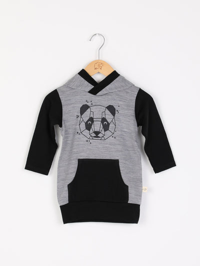 mokopuna merino sweatshirt with hood, pockets and long sleeves in size 4_mist panda