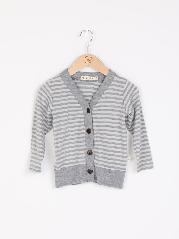 mokopuna merino cardigan with long sleeves, V neckline and buttoms in size 4_cloudy bay stripe mist
