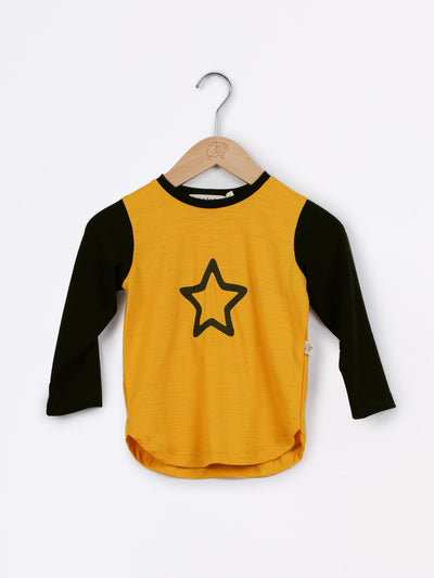 long sleeve tee shirt in merino with round neckline in size 4_butterscotch star