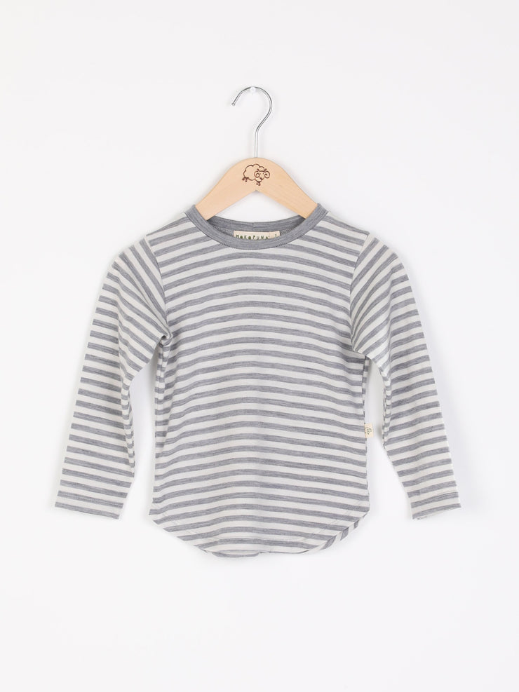 long sleeve tee shirt in merino with round neckline in size 00_cloudy bay stripe