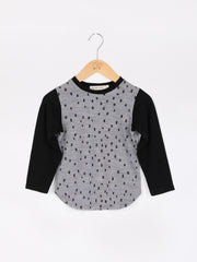 long sleeve tee shirt in merino with round neckline in size 4_confetti