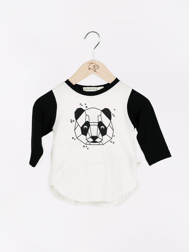 long sleeve tee shirt in merino with round neckline in size 4_lily panda