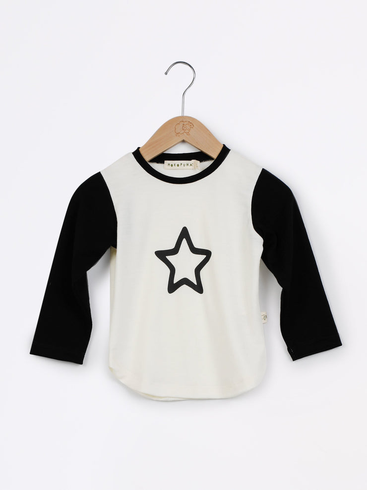 long sleeve tee shirt in merino with round neckline in size 4_lily star