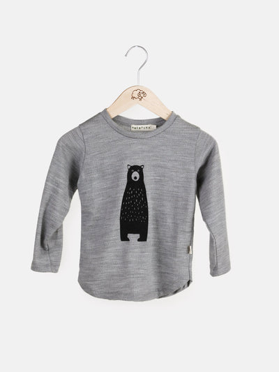 long sleeve tee shirt in merino with round neckline in size 4_mist bear