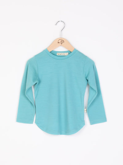 long sleeve tee shirt in merino with round neckline in size 4_tealeaf