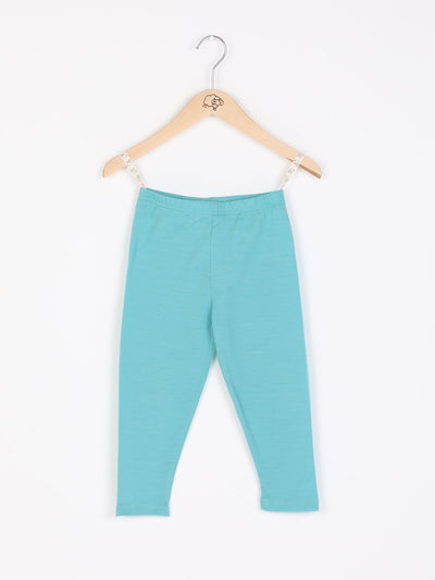 mokopuna leggings in merino with elastic waistband in size 4_tealeaf