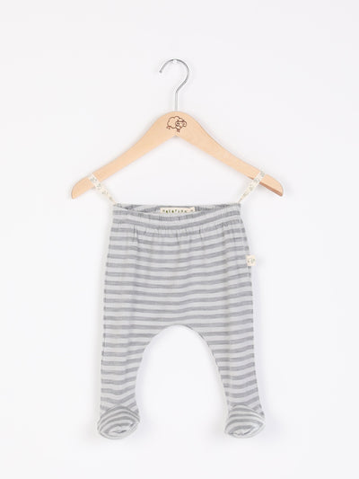 mokopuna baby footpants in merino, footed leggings with elastic waistband in size 0_cloudy bay stripe