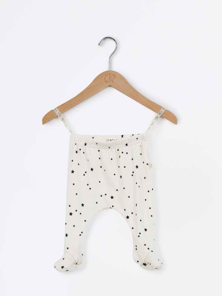 mokopuna baby footpants in merino, footed leggings with elastic waistband in size 00_stardust