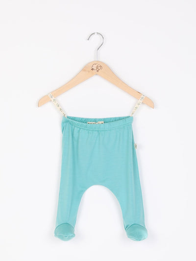 mokopuna baby footpants in merino, footed leggings with elastic waistband in size NB_tealeaf
