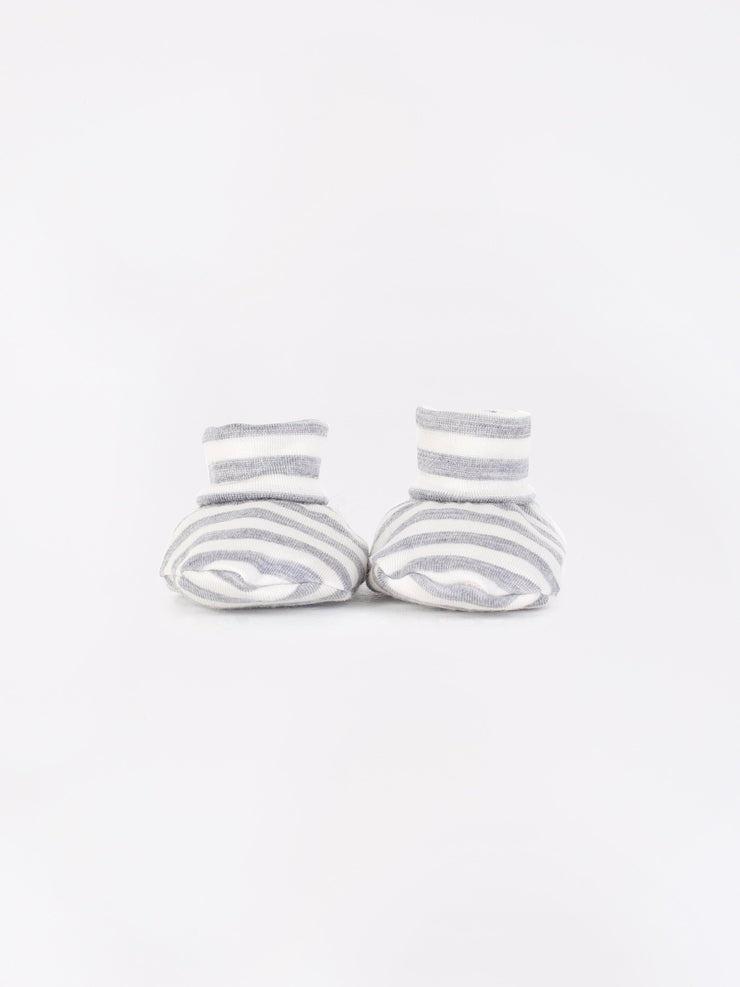 mokopuna newborn booties in merino with foldable cuffs in size OSFA_cloudy bay stripe