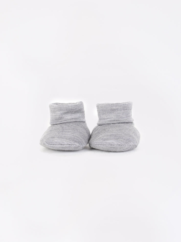 mokopuna newborn booties in merino with foldable cuffs in size OSFA_mist