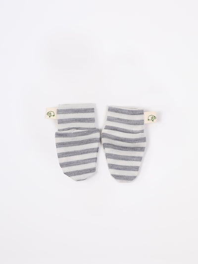 mokopuna scratch mittens in merino with foldable cuffs in size NB_cloudy bay stripe