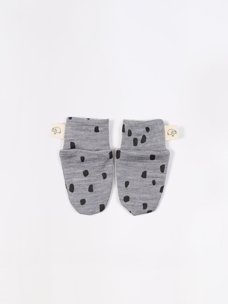 mokopuna scratch mittens in merino with foldable cuffs in size NB_confetti