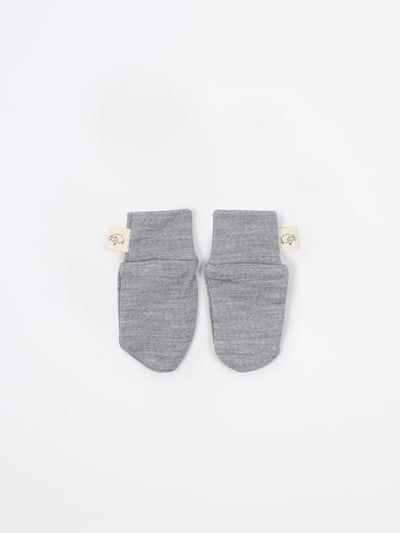 mokopuna scratch mittens in merino with foldable cuffs in size NB_mist