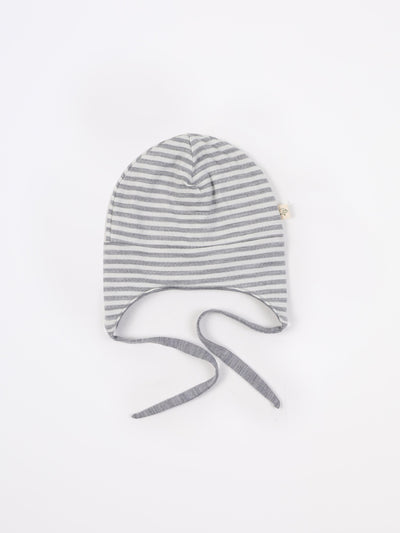 mokopuna beanie in merino with ear flaps and ties in size 2-4 yr_cloudy bay stripe