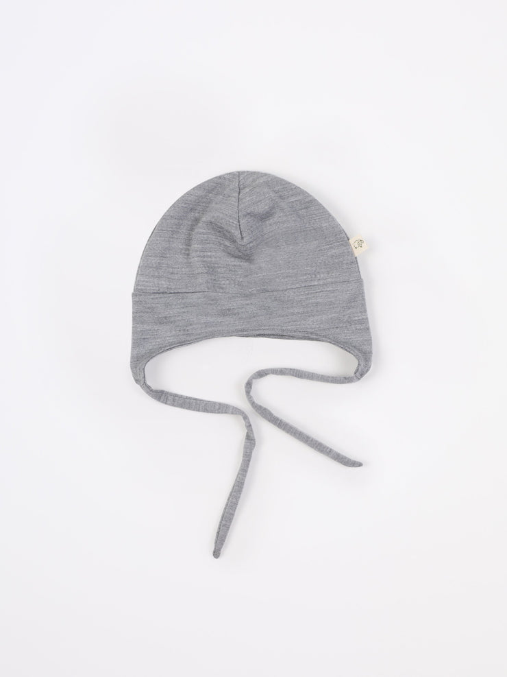 mokopuna beanie in merino with ear flaps and ties in size OSFA_mist