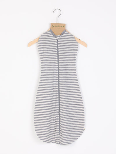 mokopuna swaddle bag with two-way zi p and one layer of merino in size 000_cloudy bay stripe
