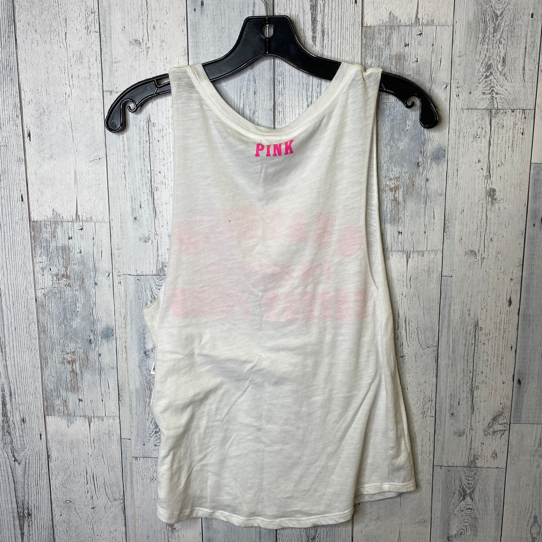 Photo #1 - BRAND: PINK <BR>STYLE: TOP SLEEVELESS BASIC <BR>COLOR: WHITE PINK <BR>SIZE: XS <BR>SKU: 176-17641-38679